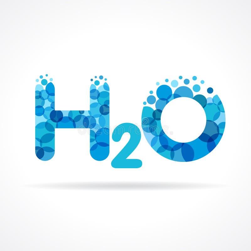 Logotipo del agua de H2O stock de ilustración