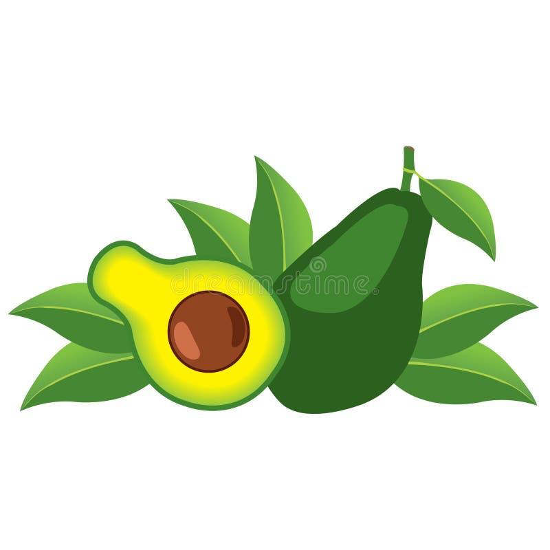 Logotipo del aguacate Mitades de las hojas del aguacate vegetarianism dieta cruda ilustración del vector