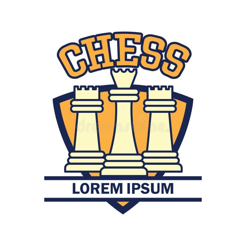 Logotipo del ajedrez con el espacio del texto para su lema/eslogan stock de ilustración