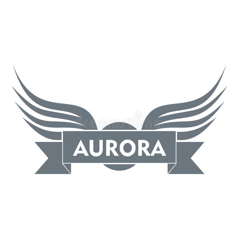 Logotipo del ala de la aurora, estilo gris simple ilustración del vector