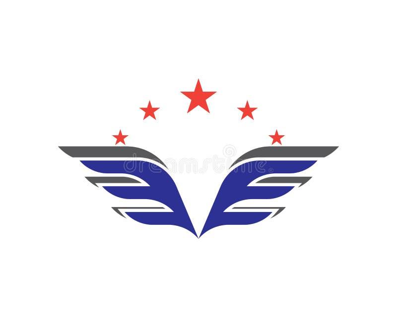 Logotipo del ala y plantilla del símbolo stock de ilustración