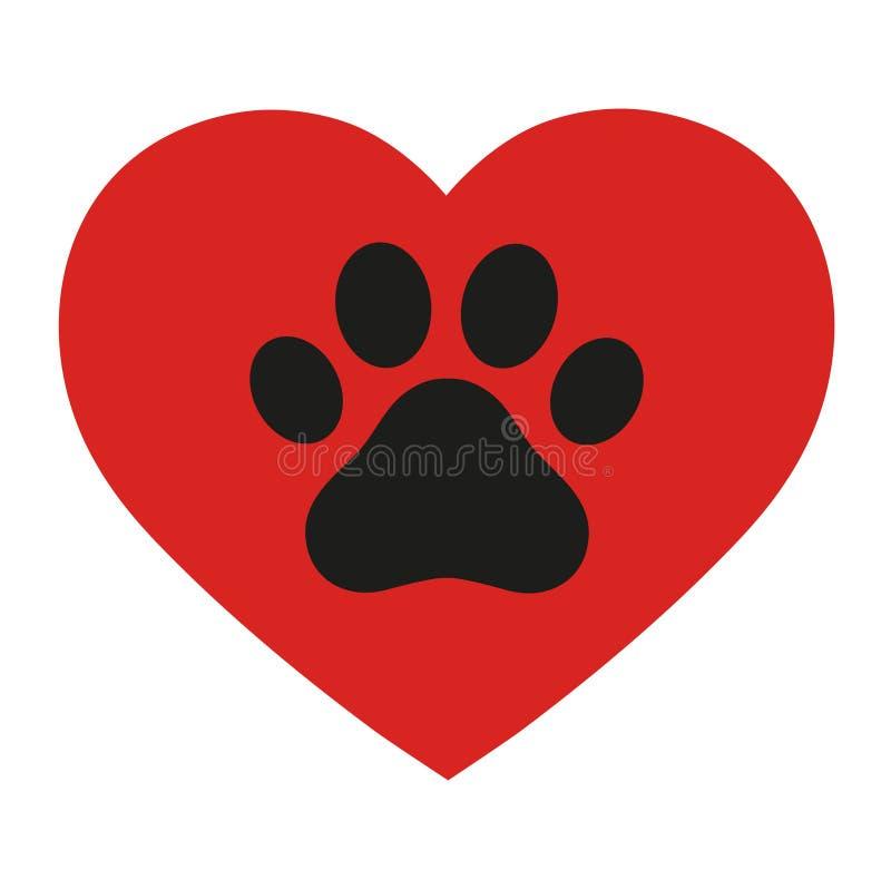 Logotipo del amor de la pata del animal doméstico Huella animal con la silueta del corazón alrededor stock de ilustración