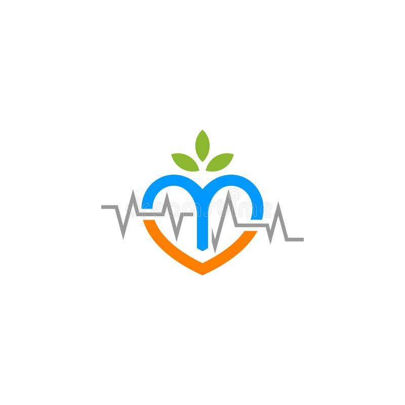 Logotipo del amor del golpe de corazón de la naturaleza ilustración del vector