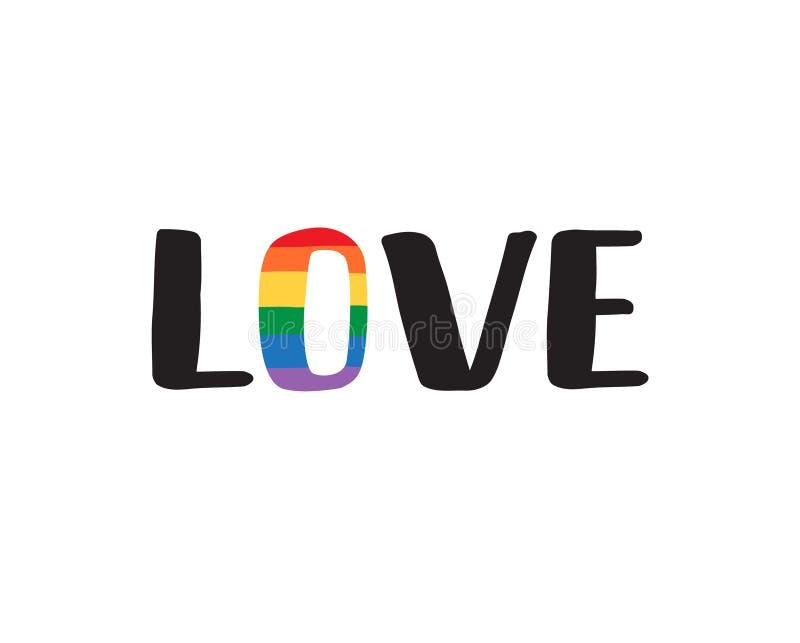 Logotipo del amor del negro del arco iris del lgbt del vector stock de ilustración