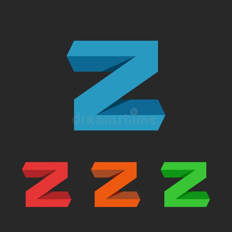 Logotipo del app 3D de la letra de Z, elemento del diseño gráfico para la aplicación web o tarjeta de visita de la tecnología del stock de ilustración