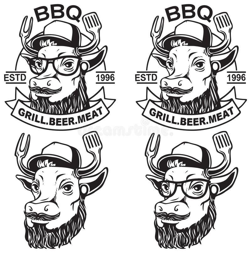Logotipo del Bbq de la vaca stock de ilustración
