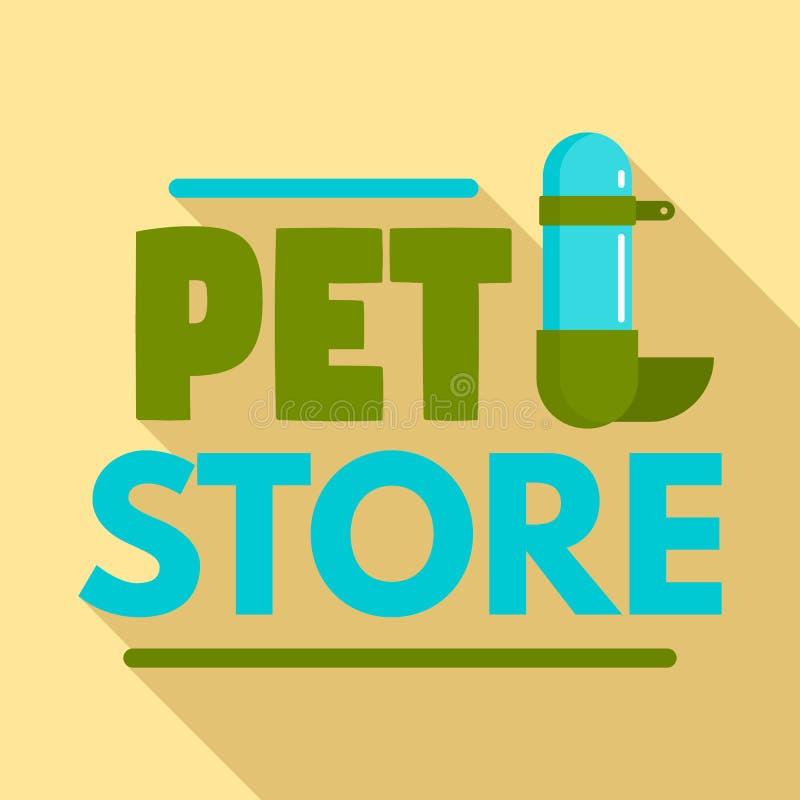 Logotipo del bebedor de la tienda del animal doméstico, estilo plano libre illustration
