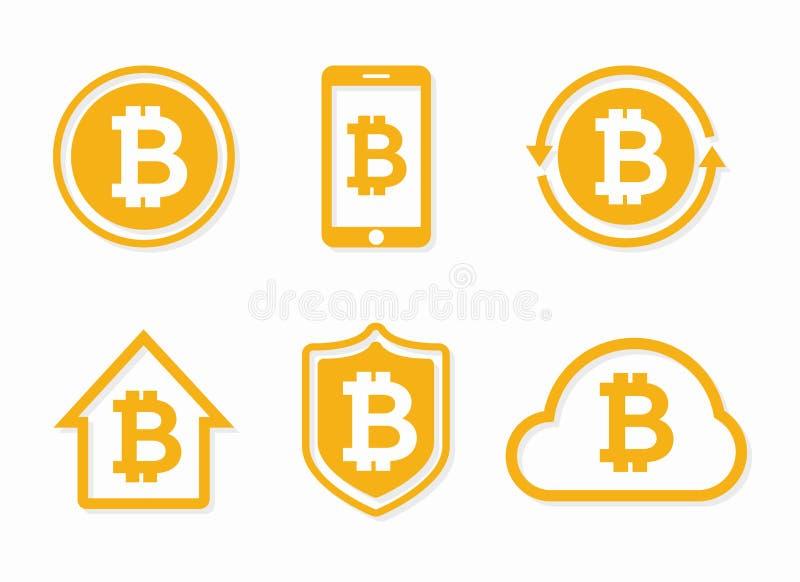 Logotipo del bitcoin del vector Icono de Bitcoin Elementos del diseño del bitcoin del vector, insignias, etiquetas libre illustration