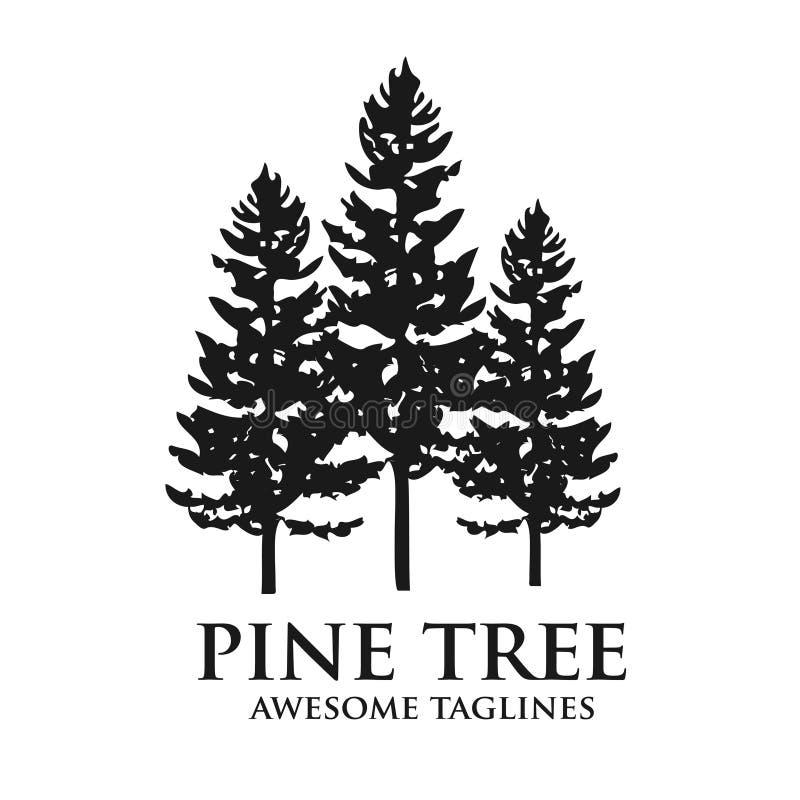 Logotipo del bosque de la silueta del verde del árbol de pino stock de ilustración
