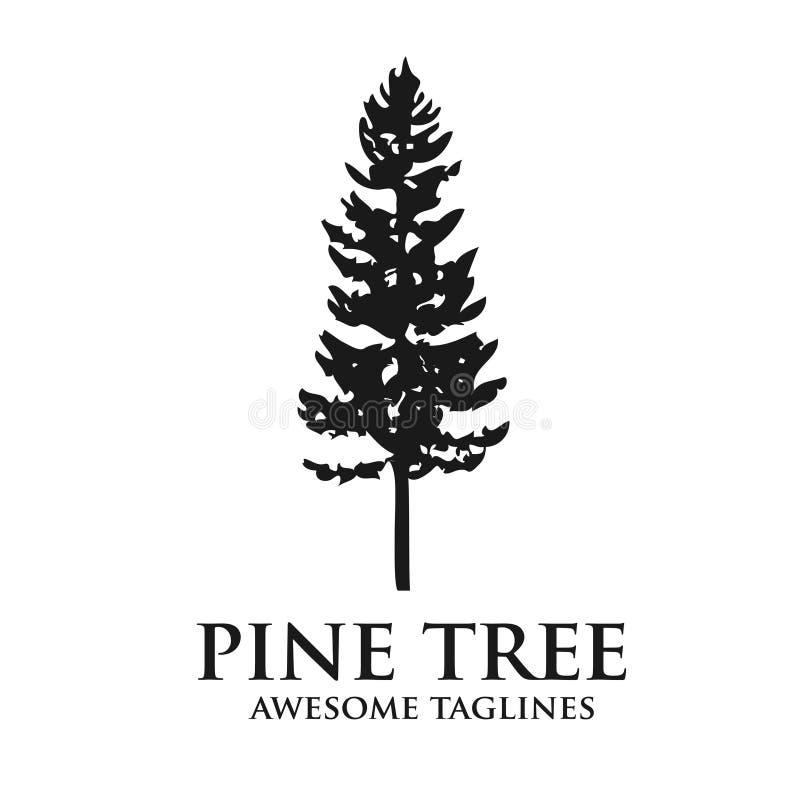 Logotipo del bosque de la silueta del verde del árbol de pino ilustración del vector