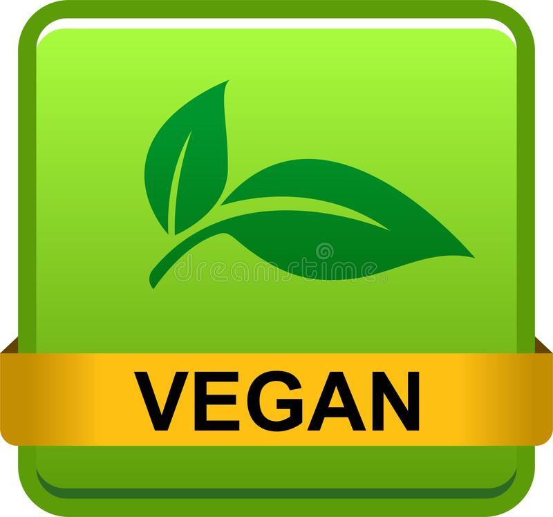 Logotipo del botón del sello del vegano stock de ilustración