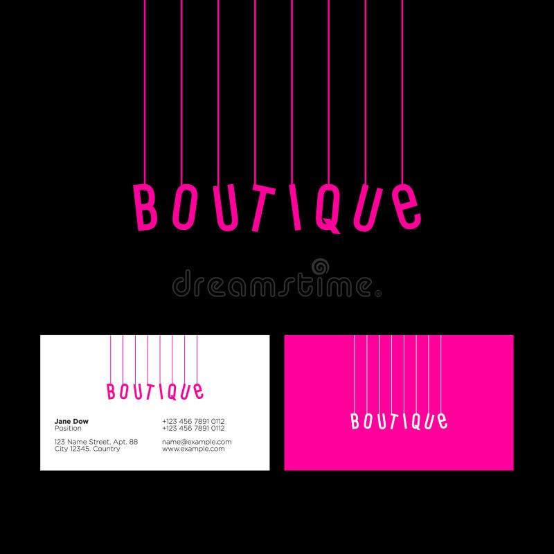 Logotipo del boutique Logotipo rosado de la diversión Letras rosadas en los hilos en un fondo oscuro Tarjeta de visita stock de ilustración