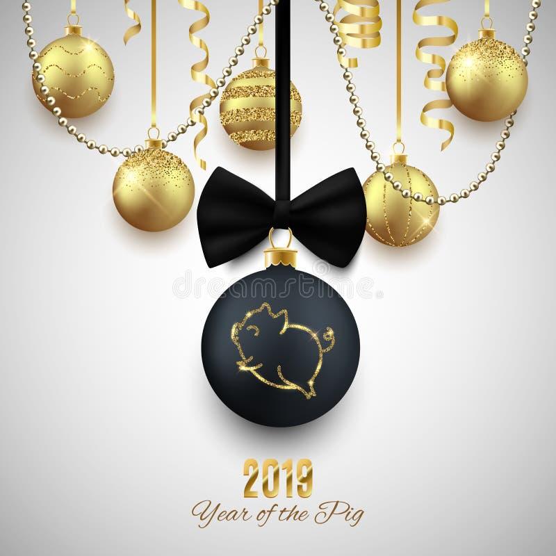 Logotipo del brillo del cerdo en la bola decorativa de la Navidad, chino del Año Nuevo 2019 ilustración del vector