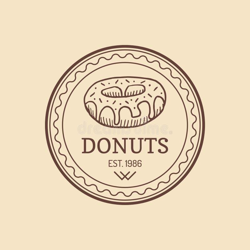 Logotipo del buñuelo del vintage Etiqueta dulce retra de la panadería Muestra del mollete Cartel de la galleta del vector Icono d libre illustration