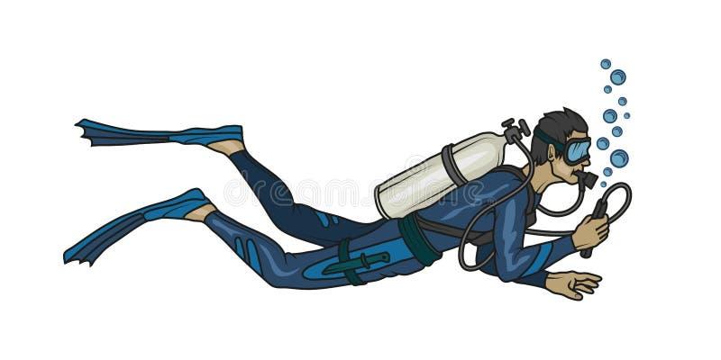 Logotipo del buceo con escafandra Buceador con el equipo de submarinismo ilustración del vector