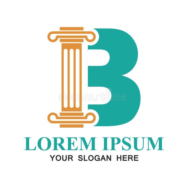 Logotipo del bufete de abogados con alfabeto de B y espacio del texto para su lema/tagline ilustración del vector
