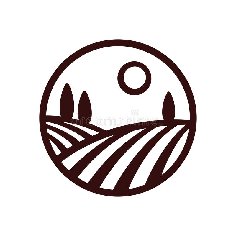 Logotipo del círculo del paisaje del viñedo stock de ilustración