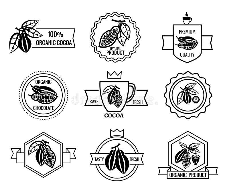Logotipo del cacao y sistema de etiquetas del chocolate ilustración del vector