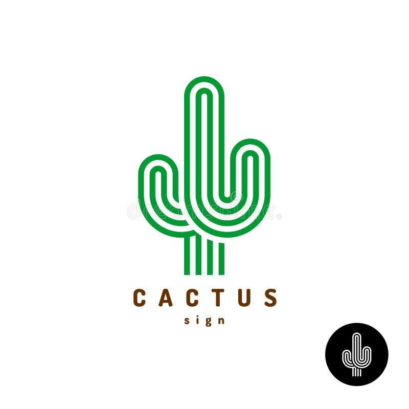 Logotipo del cactus Líneas redondeadas paralelo ejemplo del estilo stock de ilustración