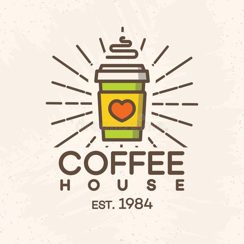 Logotipo del café con la taza de papel de estilo del color del café aislada en el fondo para el café, tienda libre illustration