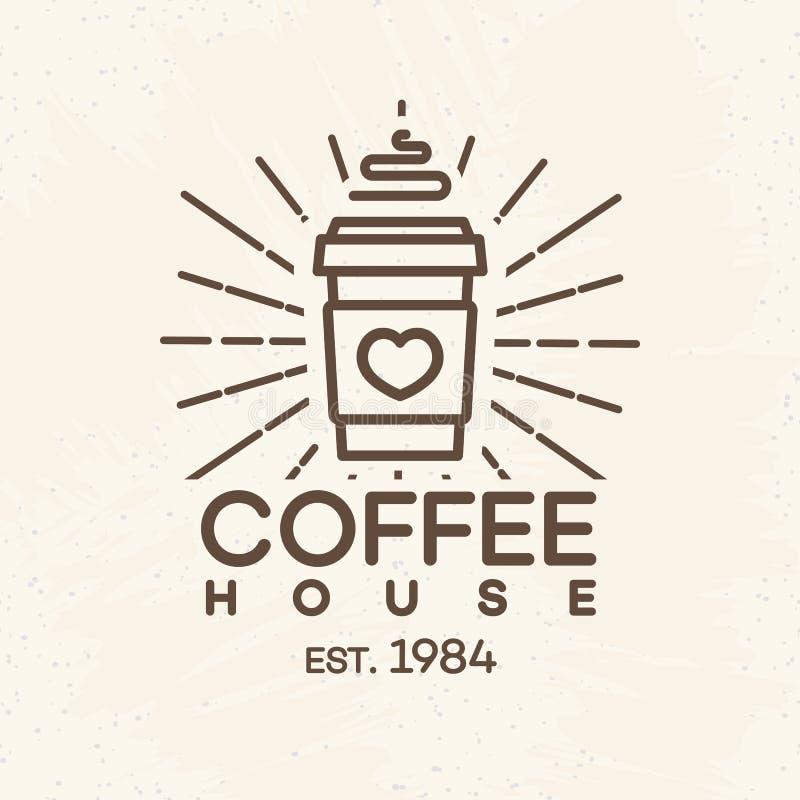 Logotipo del café con la taza de papel de línea estilo del café en el fondo para el café, tienda stock de ilustración