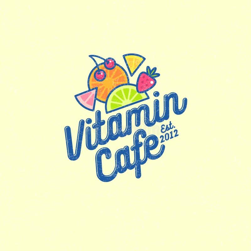 Logotipo del café de la vitamina Smoothie, detox y café sabroso del jugo Bebidas sanas libre illustration