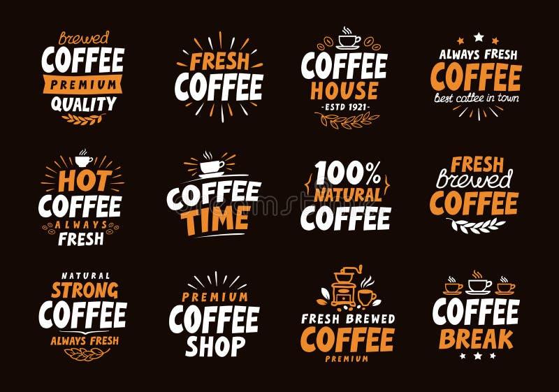 Logotipo del café Etiquetas e iconos del vector Elementos de la colección para el restaurante del diseño del menú stock de ilustración