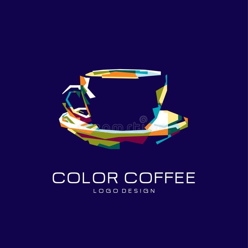 Logotipo del caf? Logotipo del color Insignia creativa Logotipo azul imagen de archivo libre de regalías