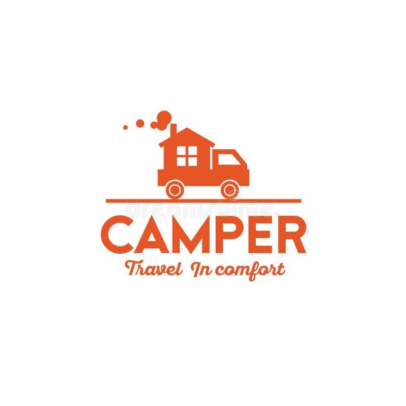 Logotipo del campista Un coche con la pequeña casa Casa en las ruedas ilustración del vector