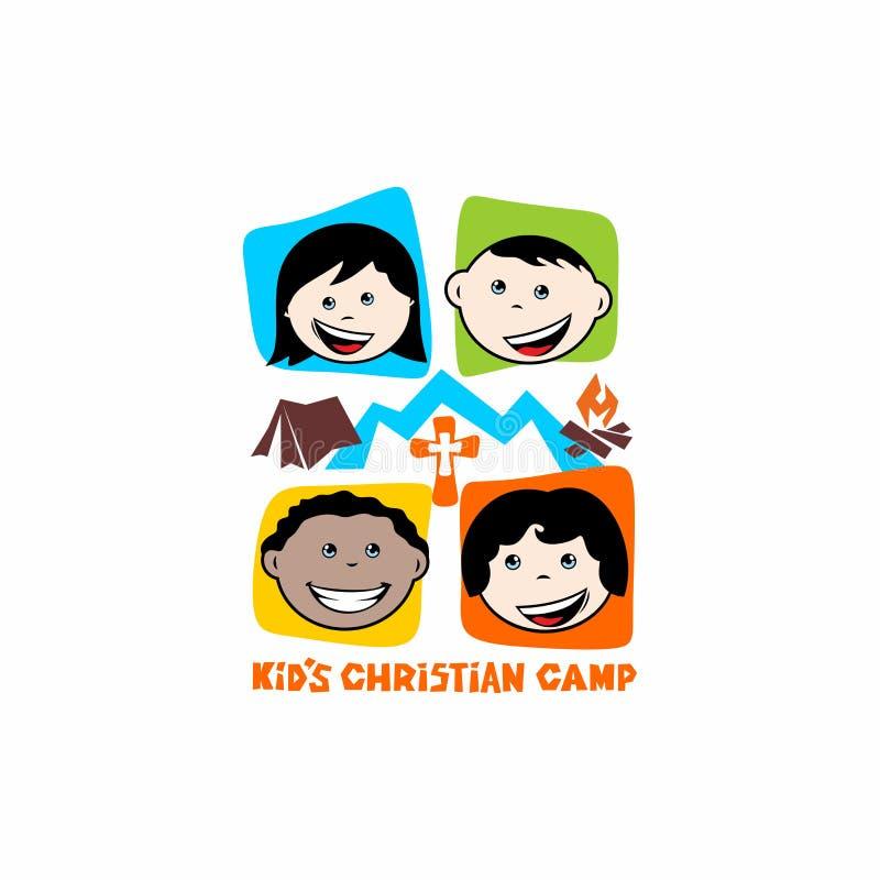 Logotipo del campo del cristiano del ` s del niño Montañas, cruz y tienda, niños ilustración del vector