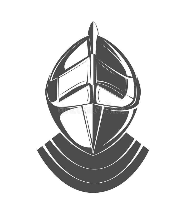 Logotipo del casco, símbolo medieval del vintage de la antigüedad del caballero stock de ilustración