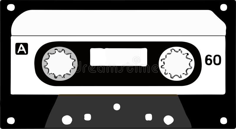 Logotipo del casete de cinta en el fondo blanco ilustración del vector