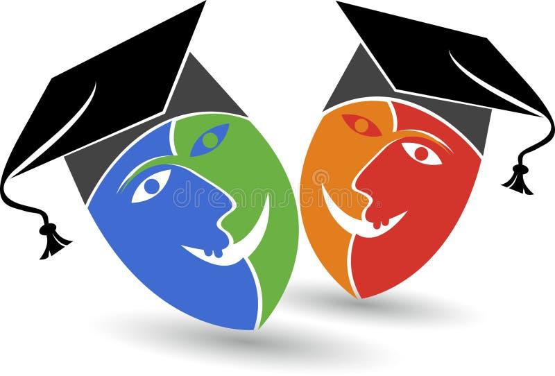 Logotipo del casquillo de la graduación de la máscara stock de ilustración