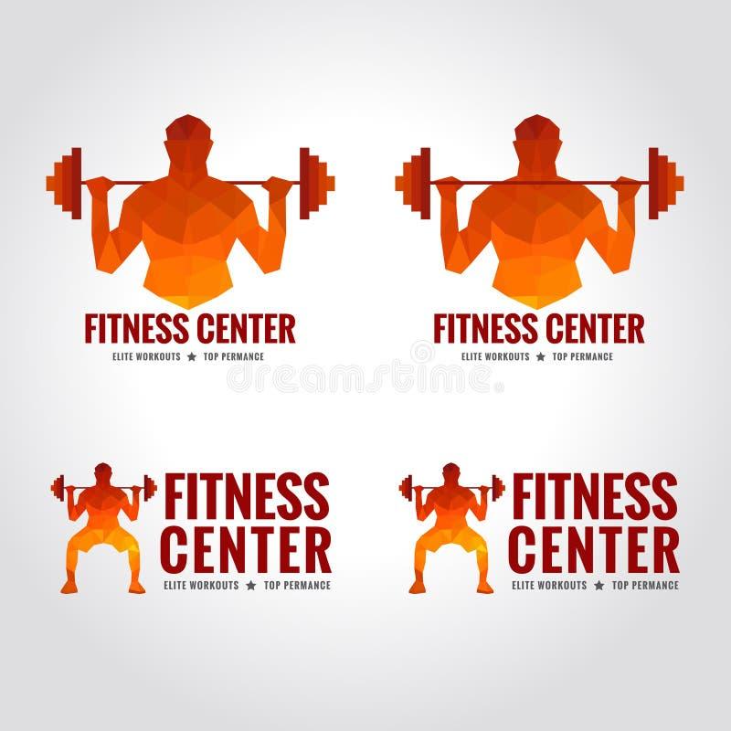 Logotipo del centro de aptitud (fuerza muscular de los hombres y levantamiento de pesas) ilustración del vector