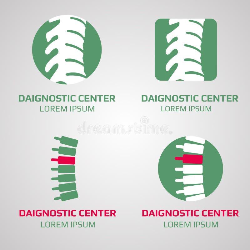 Logotipo del centro de diagnóstico de la espina dorsal del vector stock de ilustración