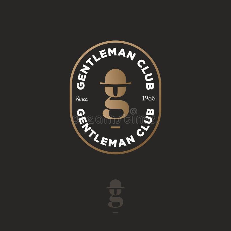 Logotipo del club del caballero Letra g del oro en un sombrero-jugador de bolos Emblema masculino del club Barbería o pub de la c ilustración del vector