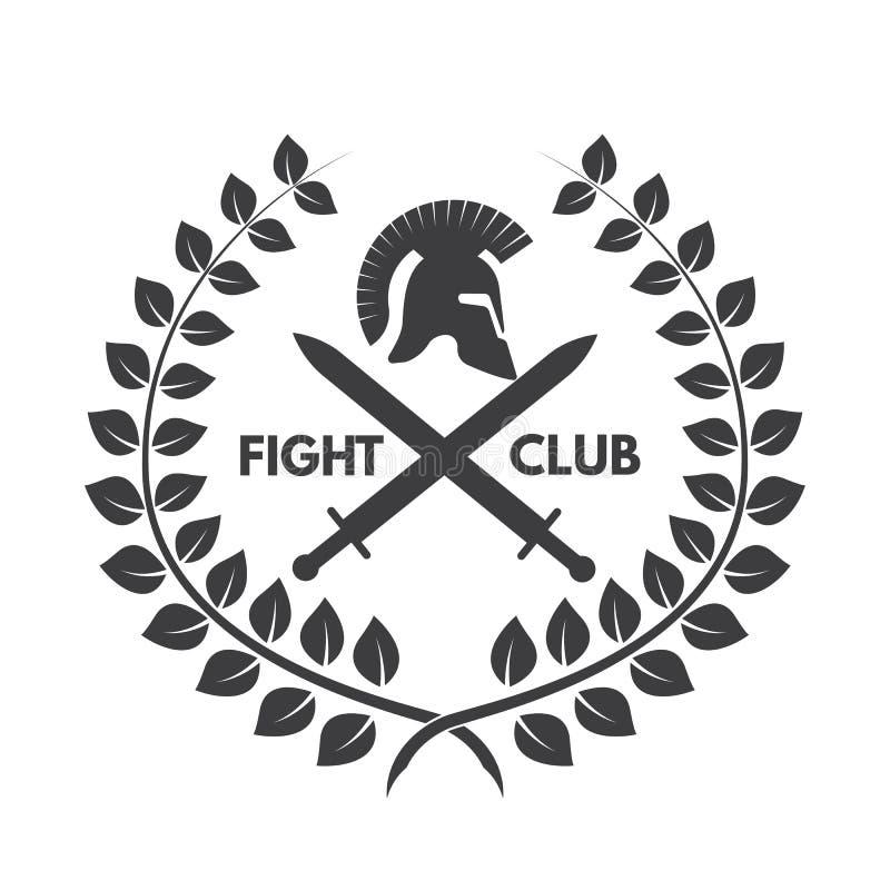 Logotipo del club de la lucha Casco romano o griego ilustración del vector