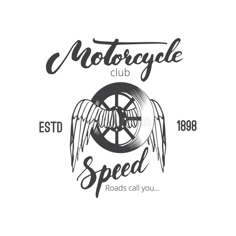 Logotipo del club de la motocicleta del vector para usted diseño Insignia o emblema para el club de la moto con la rueda y alas y stock de ilustración