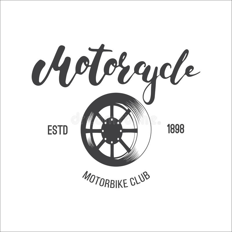 Logotipo del club de la motocicleta del vector para usted diseño La insignia o el emblema para el club de la moto con la rueda y  libre illustration