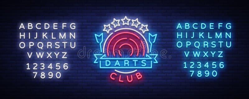 Logotipo del club de los dardos en el estilo de neón Señal de neón, publicidad brillante de la noche, bandera ligera Ejemplo de V stock de ilustración