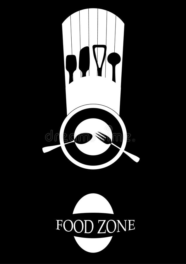 Logotipo del cocinero en un fondo negro Ilustración del vector ilustración del vector