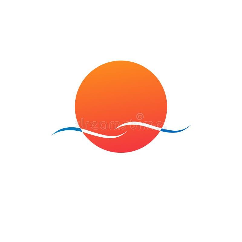 Logotipo del color de la forma redonda, sol aislado y ejemplo anaranjados abstractos del vector del logotipo de la onda aislado e libre illustration