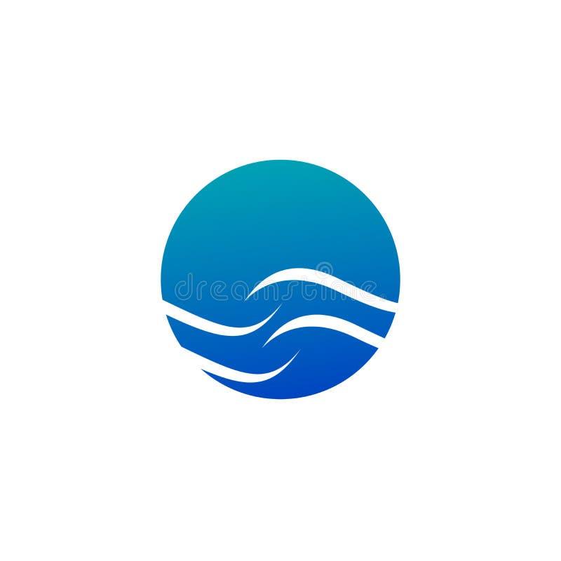 Logotipo del color de la forma redonda, sol aislado y ejemplo azules abstractos del vector del logotipo de la onda aislado en el  stock de ilustración