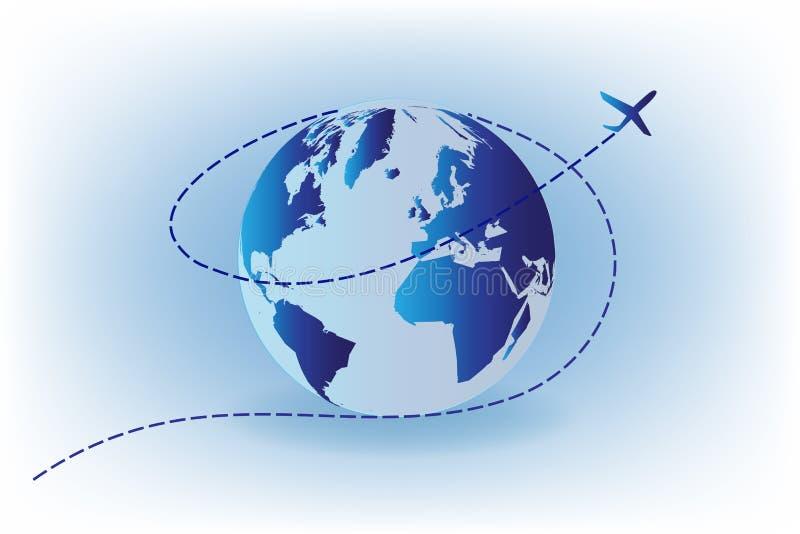 Logotipo del concepto del viaje del aeroplano del mundo ilustración del vector
