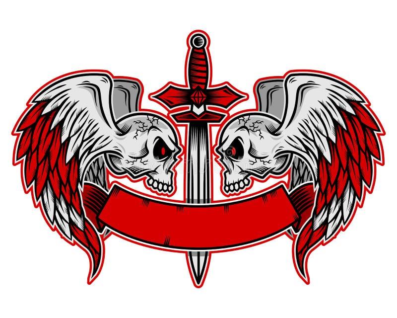 Logotipo del cráneo, icono o ejemplo con las alas, vector del cráneo del ske libre illustration