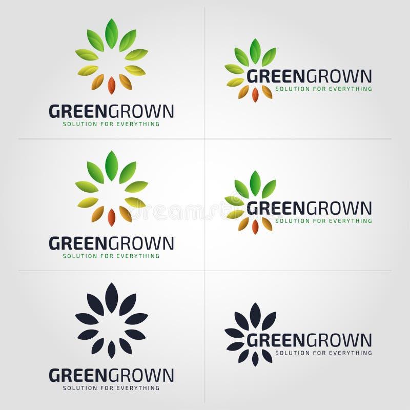 - Logotipo del crecimiento de la naturaleza - logotipo crecido verde de la flor libre illustration
