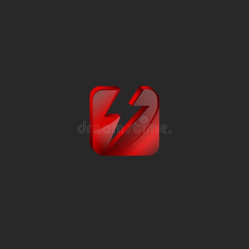 Logotipo del cuadrado 3d en el vidrio rojo o la gema brillante rota en dos porciones bajo la forma de icono de la tecnología del  libre illustration