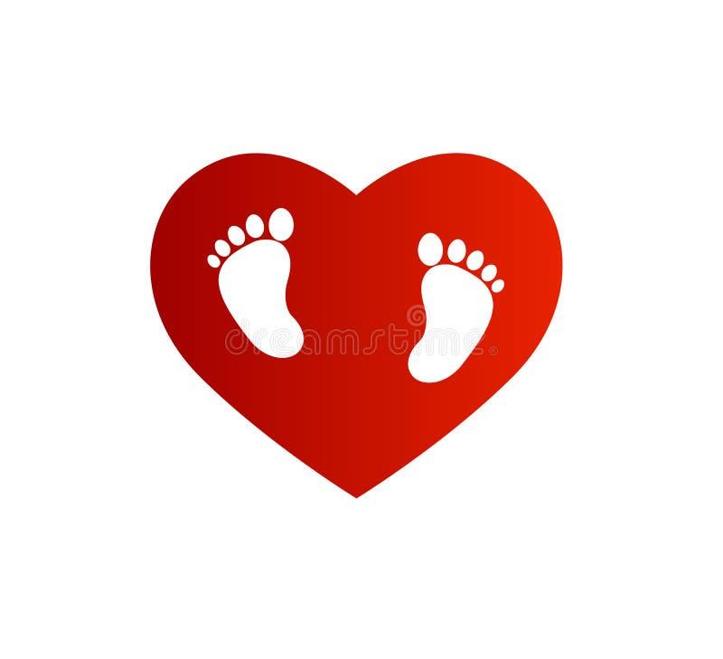 Logotipo del cuidado del bebé, icono del vector de la impresión del pie con la forma del corazón, pies de las tachuelas de ejempl ilustración del vector