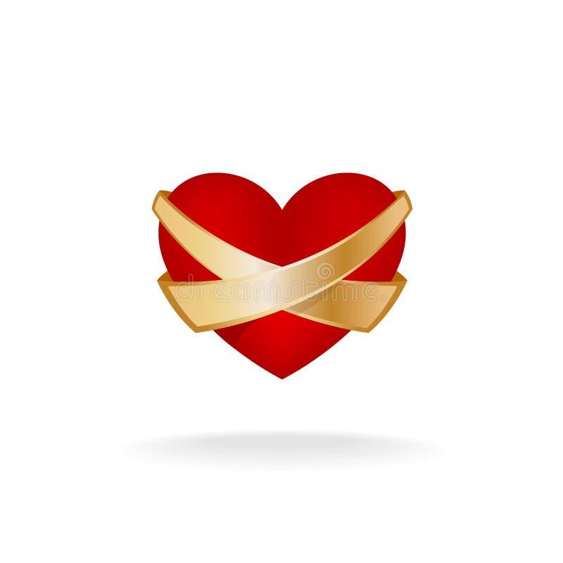 Logotipo del cuidado del corazón ilustración del vector