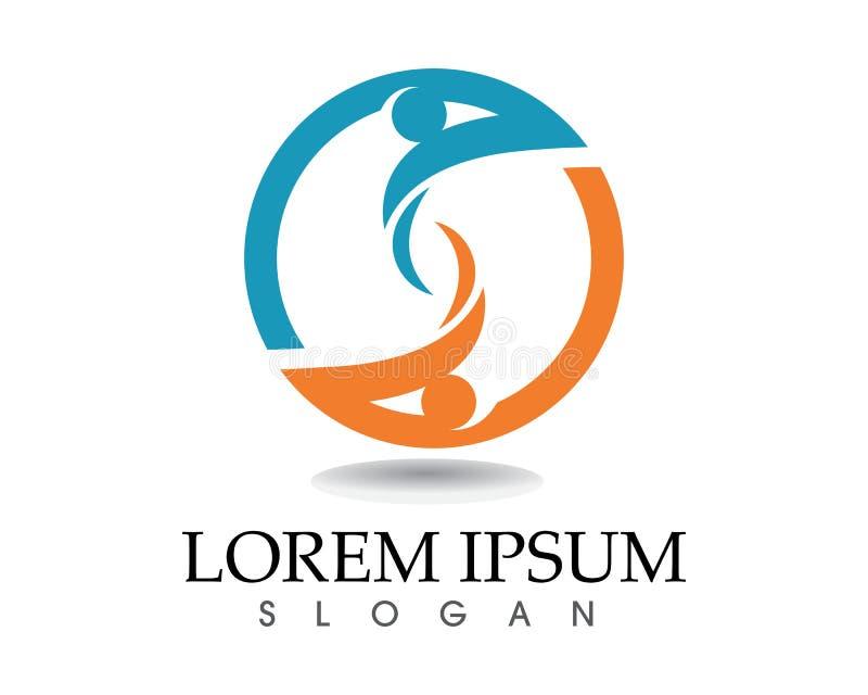 Logotipo del cuidado de la gente de la comunidad y plantilla de los símbolos libre illustration